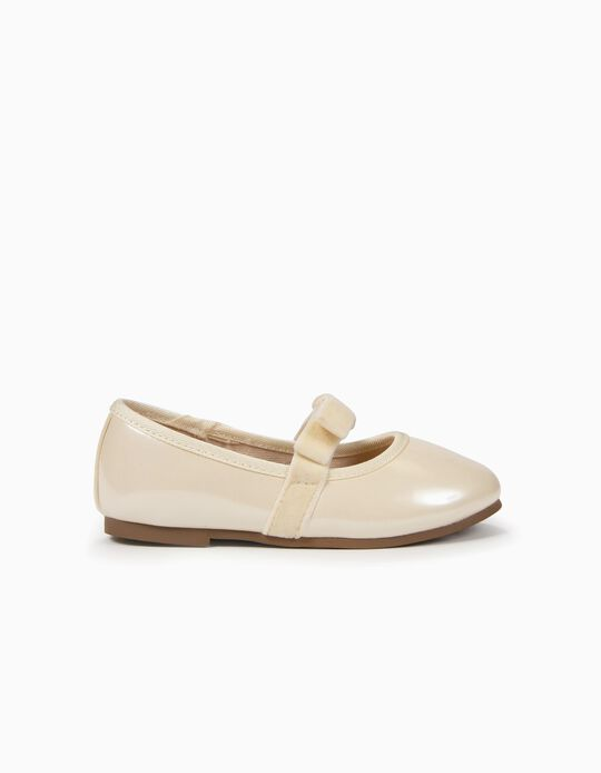 Varnished Ballerinas with Bow for Baby Girls, Pearl White
