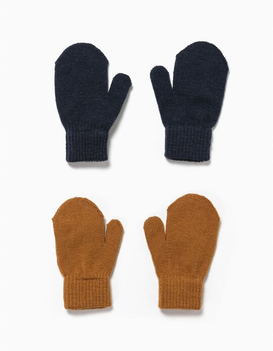 Pack 2 luvas azul e castanho sem dedos