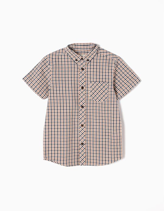 Short-Sleeved Checked Shirt, Beige & Blue