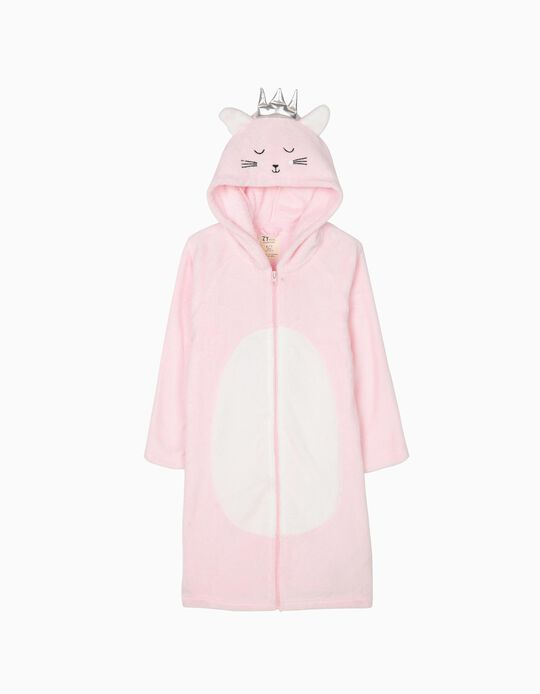 Hooded Robe for Girls 'Cat Queen', Pink