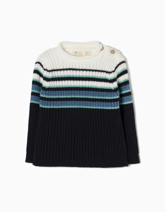 Knitted Jumper, Blue Stripes