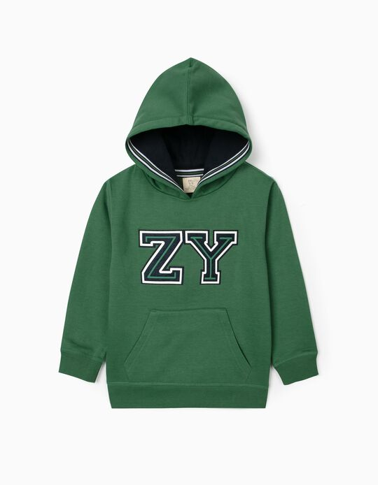 ZY' Hooded Sweatshirt for Baby Boys, Green