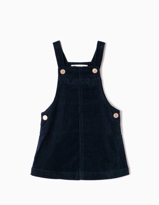 Blue Corduroy Pinafore Dress