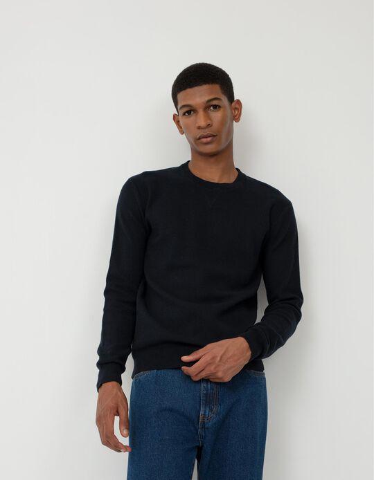 Textured Sweatshirt, Men, Dark Blue