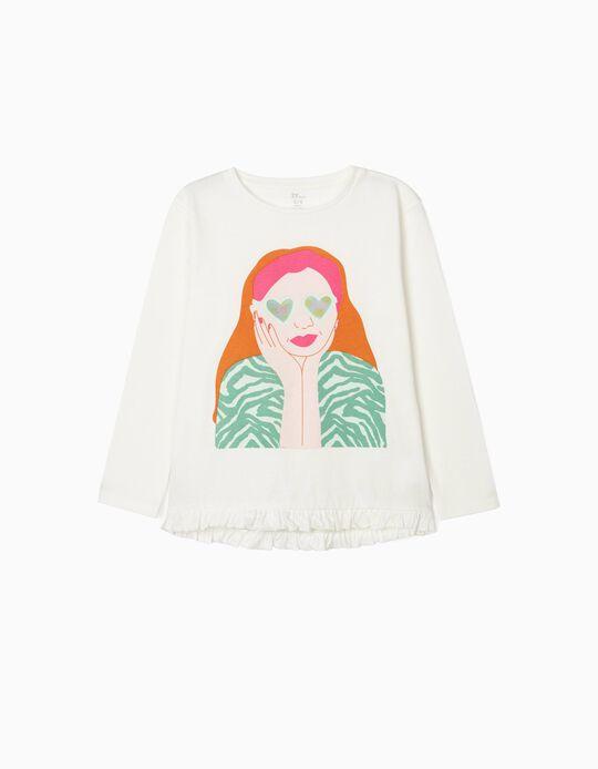 Long Sleeve Top for Girls, 'Love', White