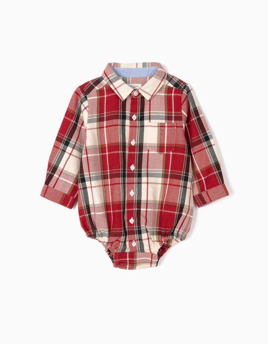 Body-Camisa Xadrez para Recém-Nascido 'B&S', Vermelho/Branco