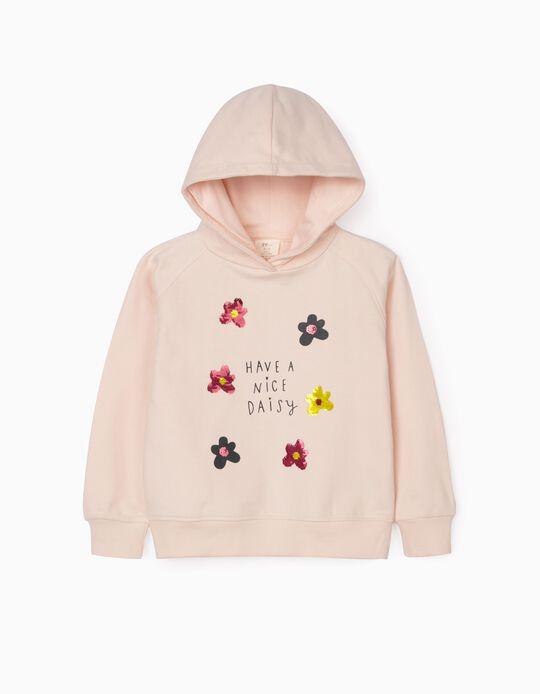 Hooded Sweatshirt for Girls 'Daisy', Pink