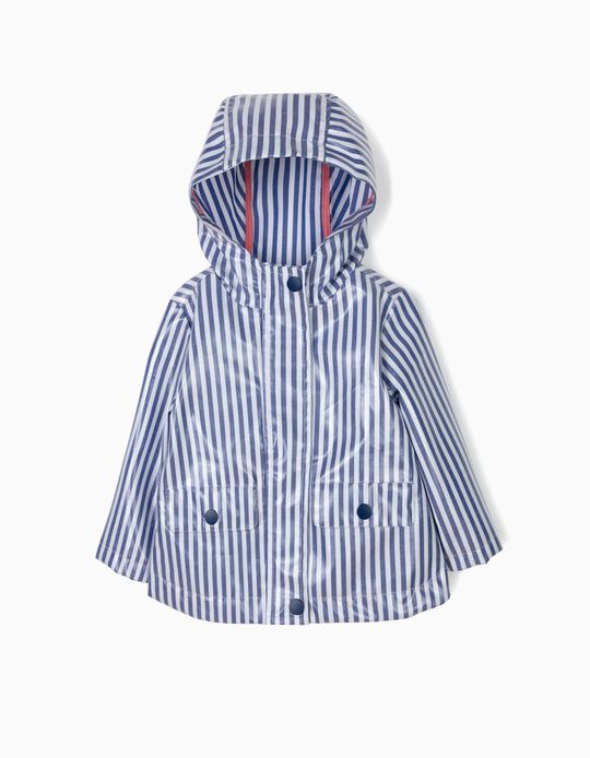 Striped Waterproof Parks for Baby Girls, Blue and White