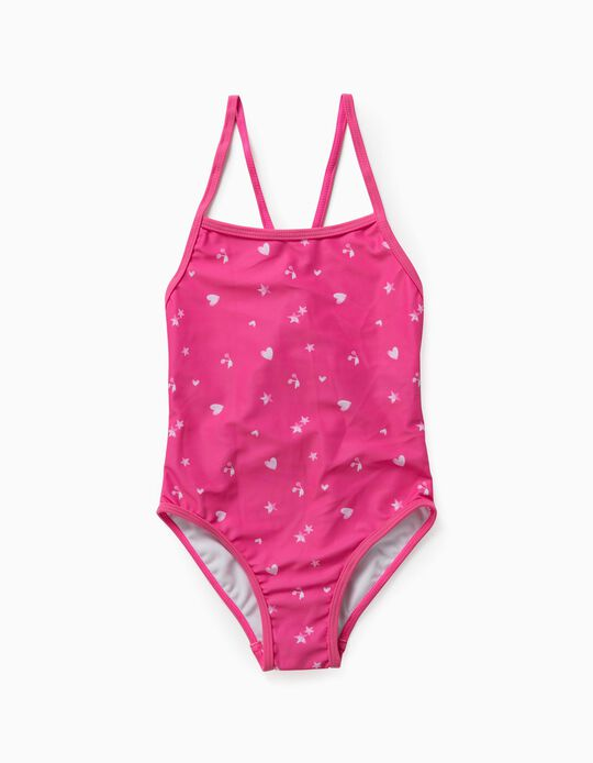 Swimsuit with Prints, for Girls, Pink