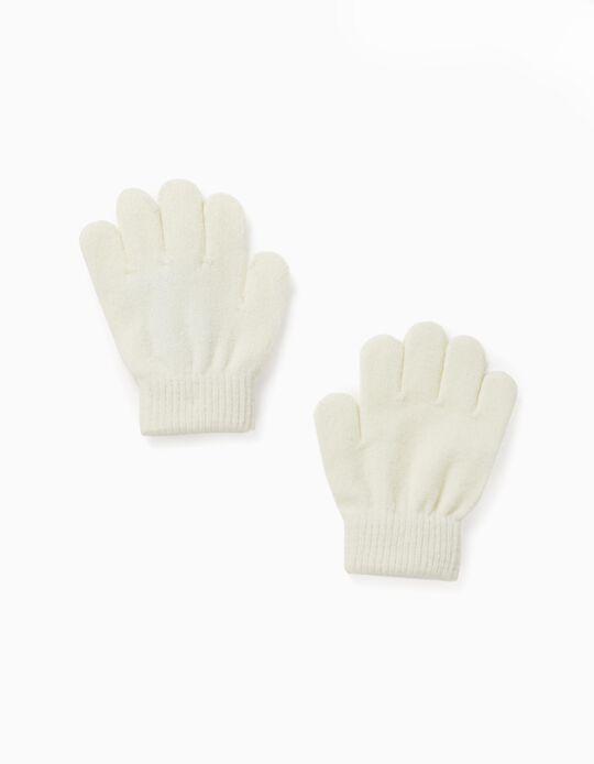 Knit Gloves for Girls, White