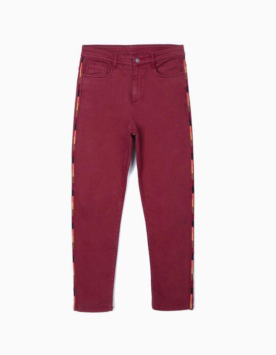 Calças de Sarja Cintura Subida, Mulher, Vermelho Escuro
