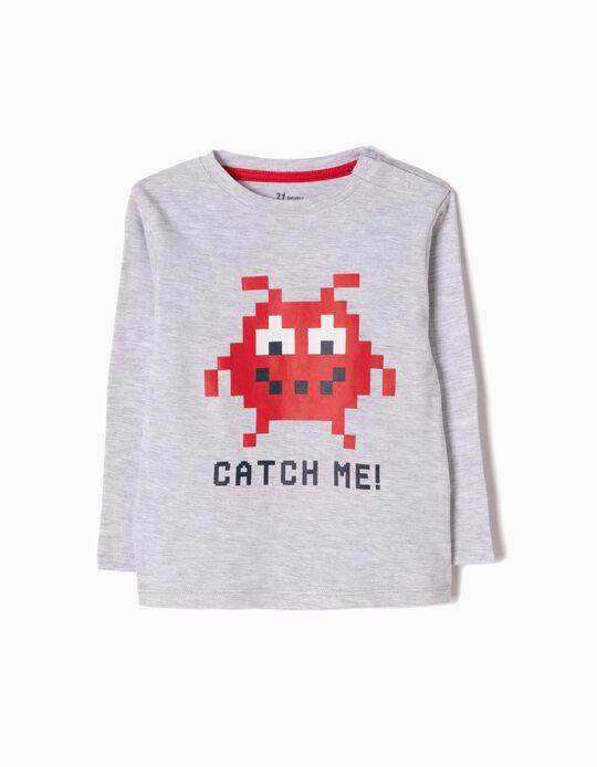 T-shirt Manga Comprida Estampada Catch Me