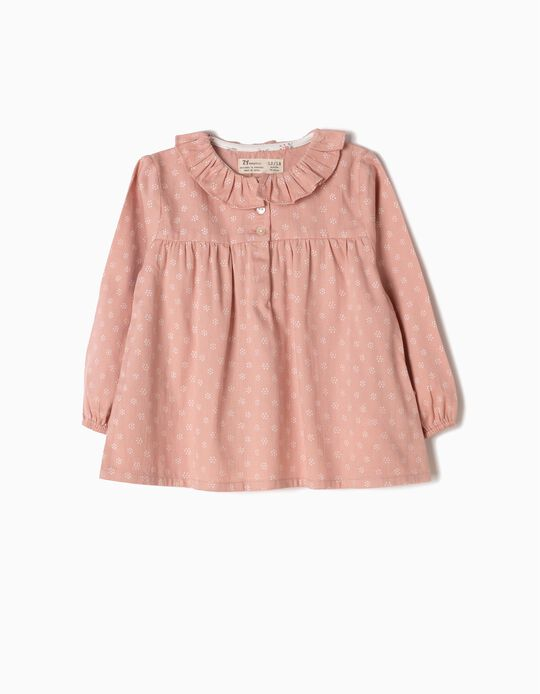 Pink Loose-Fitting Twill Blouse, Flowers