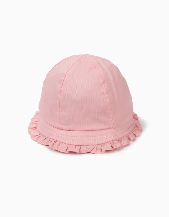 Chapéu para Bebé Menina com Folhos, Rosa