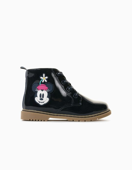 Patent Ankle Boots for Girls, 'Minnie', Dark Blue