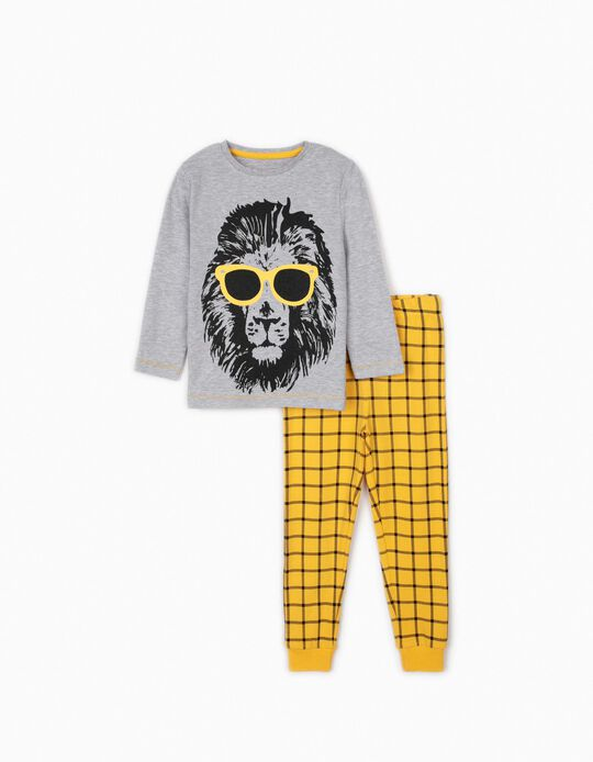 Pijama para Menino 'Cool Lion', Cinza/Amarelo