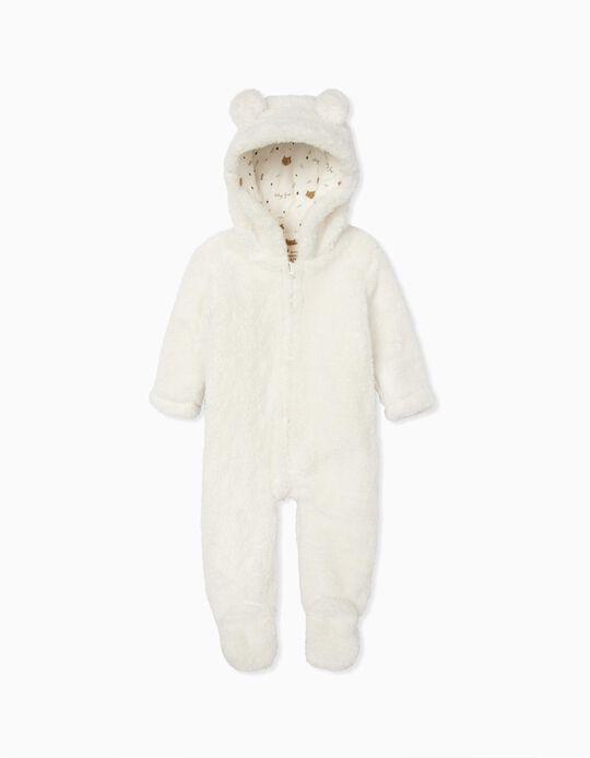 Macacão com Capuz para Recém-Nascido 'Baby Fox', Branco
