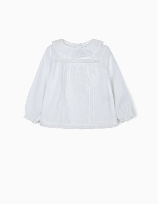 'B&S' Blouse with Lace and Embroideries for Baby Girls, White