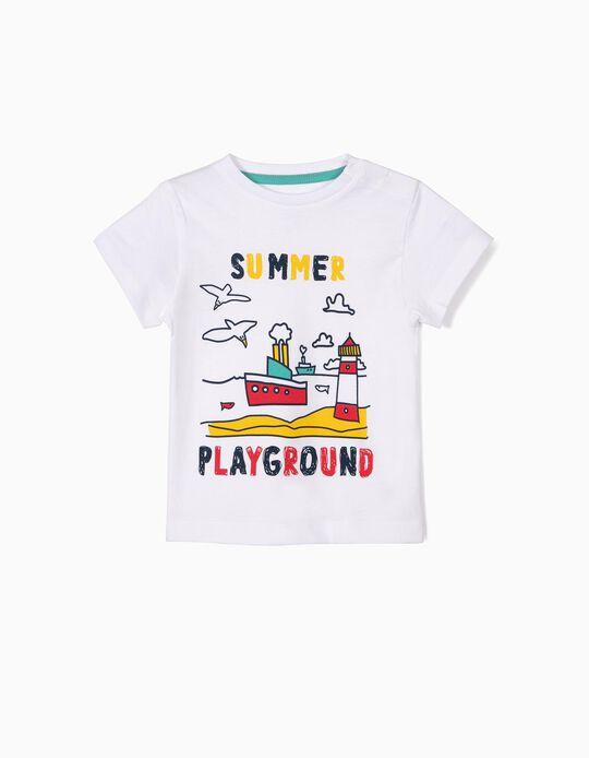 T-shirt para Bebé Menino 'Summer Playground', Branco