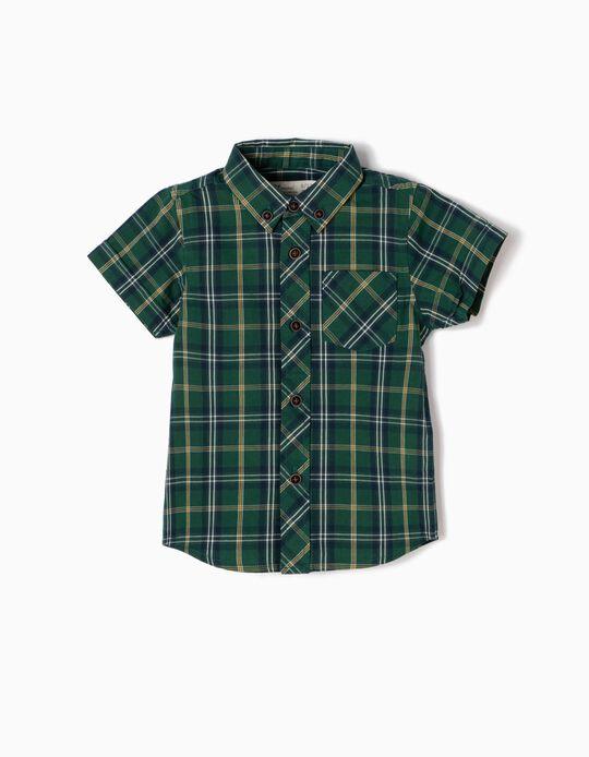 Camisa Manga Curta Xadrez Verde e Amarela
