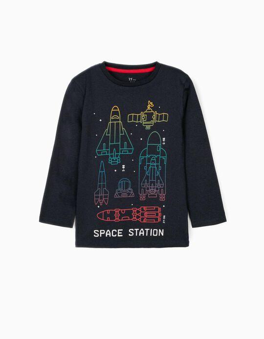 T-shirt Manga Comprida para Menino 'Space Station', Azul Escuro