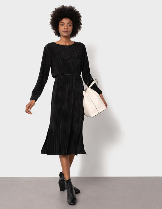 Pleated Midi Dress, Black