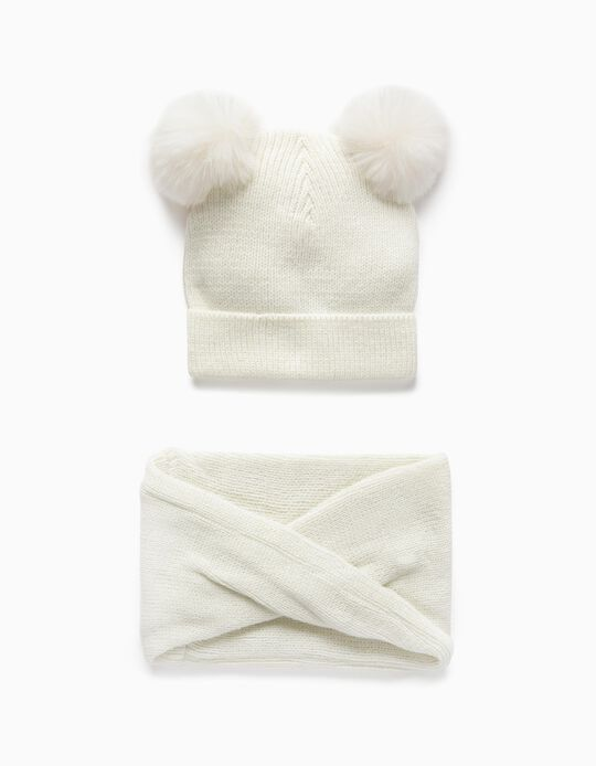 Beanie + Snood for Baby Girls, White