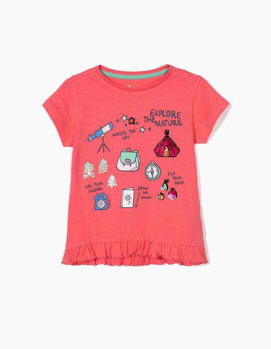 T-shirt para Menina 'Explore The Nature', Coral