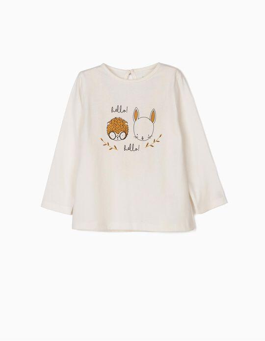 T-shirt Manga Comprida Hello! Branca