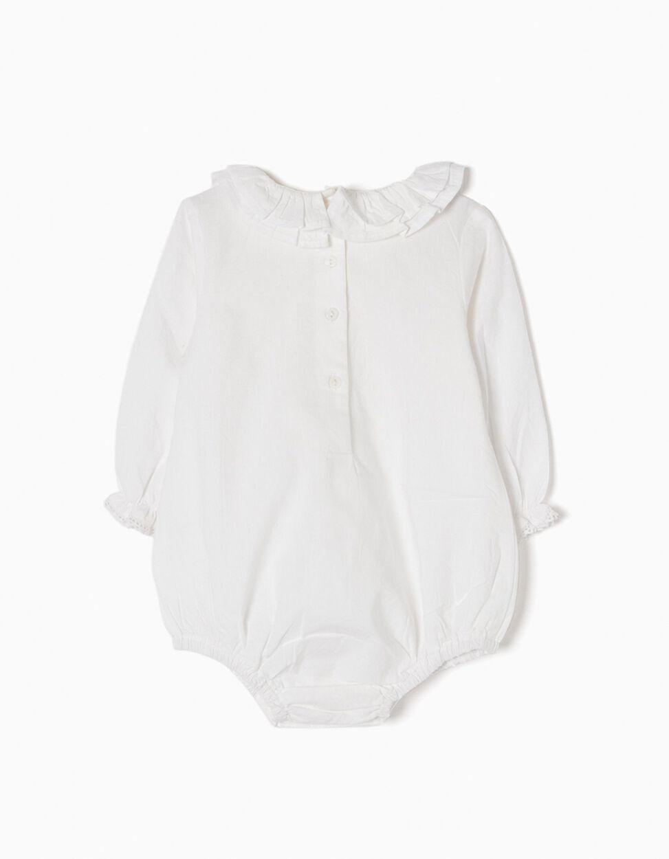 Body Blusa Branco com Folhos