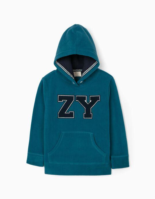 Polar Fleece Sweatshirt for Boys 'ZY', Turquoise Blue