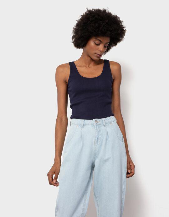 Dark Blue Rib Knit Top, Mo Essentials