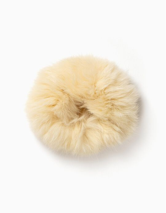 Fluffy Hair Tie, White