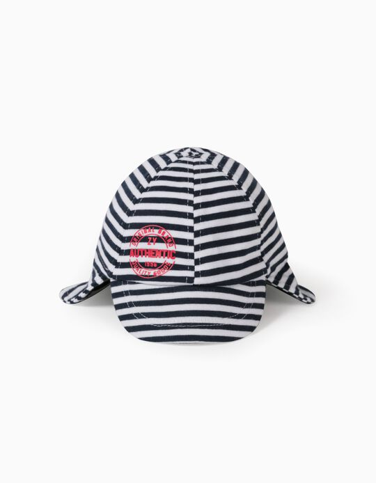 Striped Cap for Baby Boys, Dark Blue/White