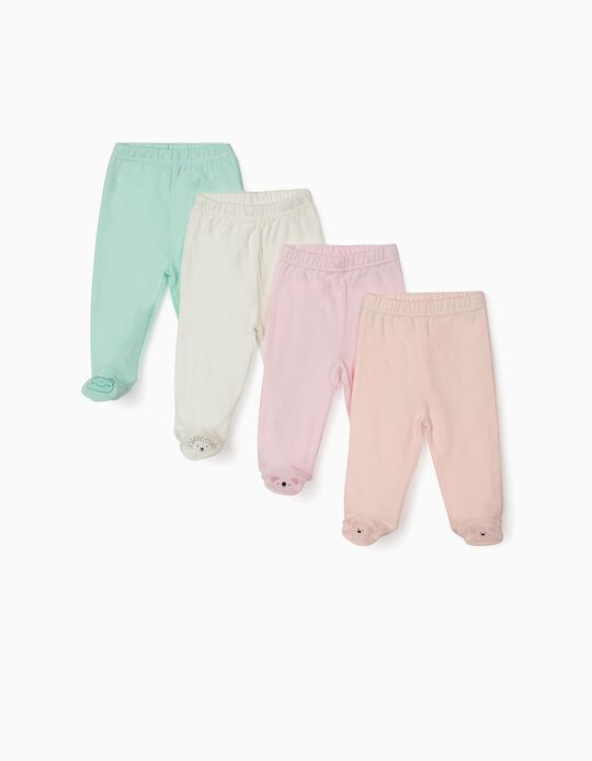 4-PACK TROUSERS WITH FEET FOR NEWBORN BABIES 'ANIMALS', MULTICOLOUR
