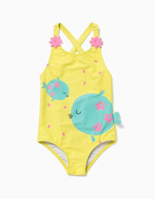 Swimsuit with UV 60 Protection for Baby Girls, 'Fish', Yellow