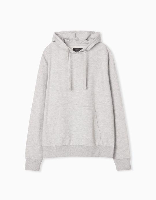 Hooded Basic Sweatshirt, Men, Grey