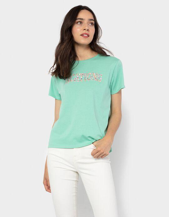 T-shirt with Print, Aqua Green