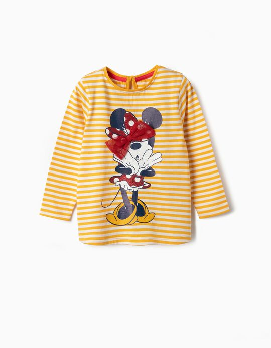 Long-sleeve Top for Baby Girls 'Minnie', Yellow/White
