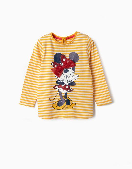 T-shirt Manga Comprida para Bebé Menina 'Minnie', Amarelo e Branco