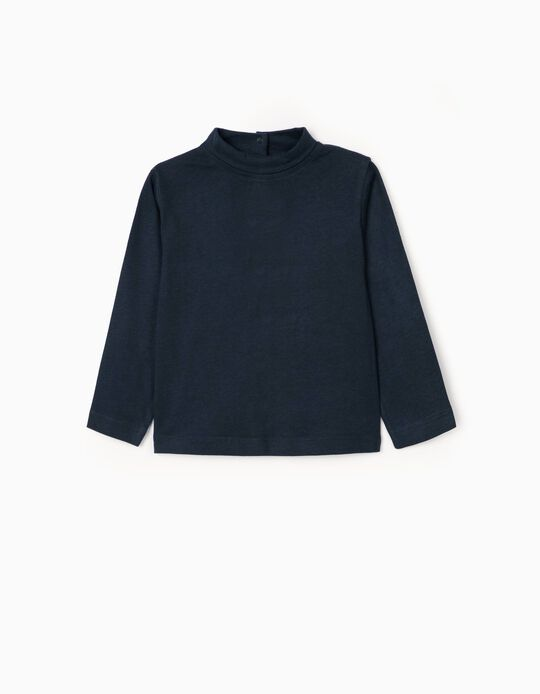 Long Sleeve T-Shirt with Turtleneck for Baby Girls, Dark Blue