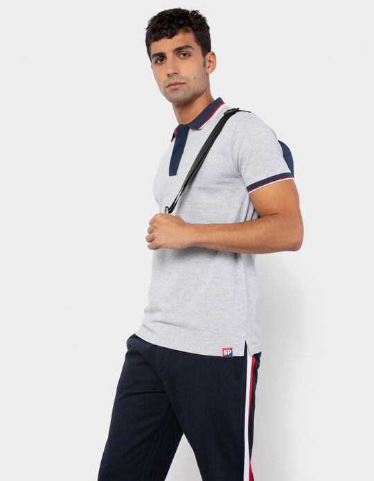 Polo Shirt with Zip, for Men, Grey