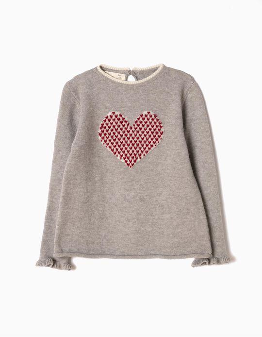 Camisola de Malha Coração Cinzenta
