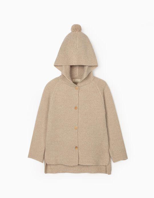 Hooded Cardigan for Girls, Beige