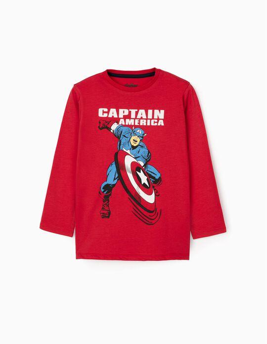 T-Shirt Manga Comprida para Menino 'Captain America', Vermelho