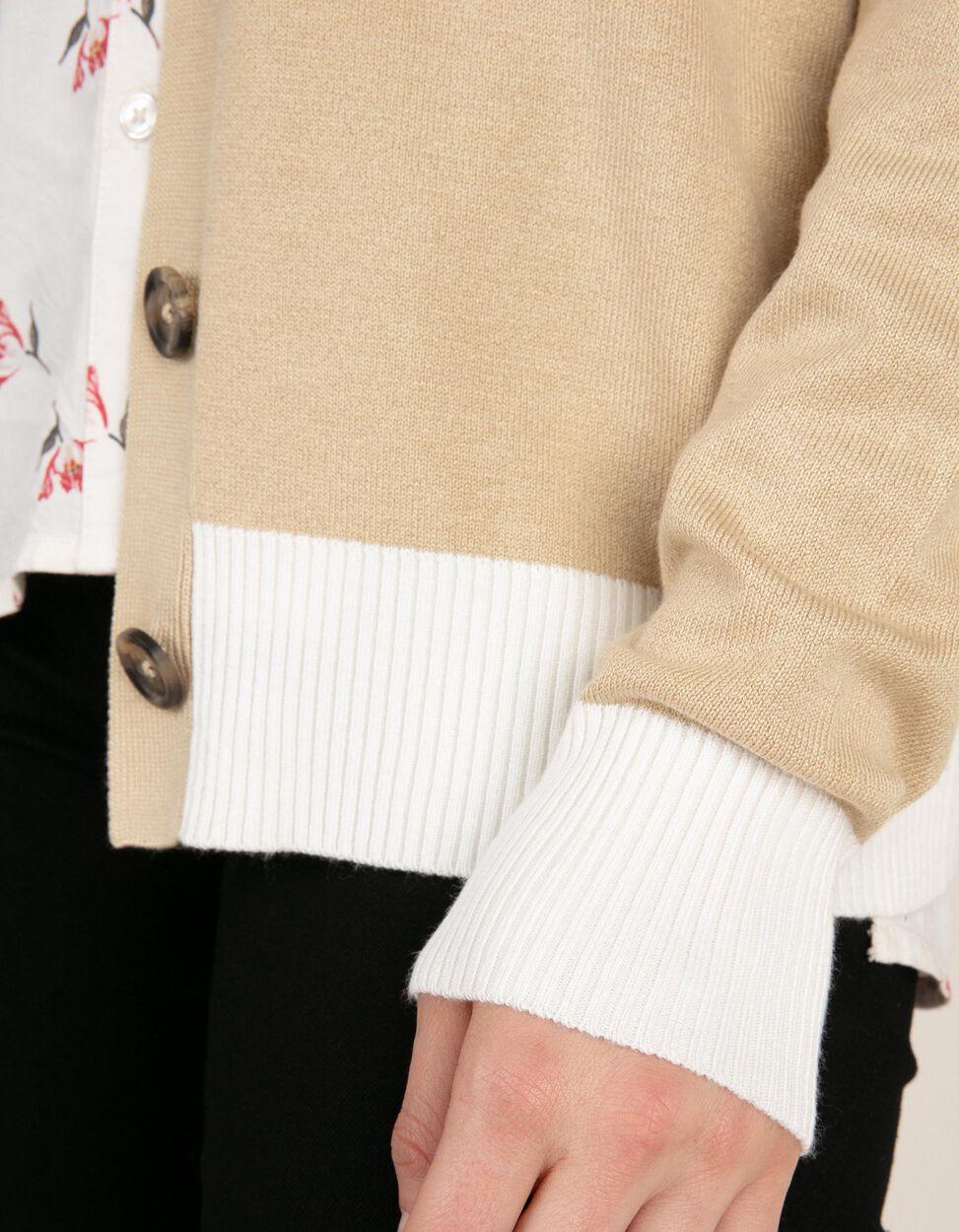 Cardigã com decote em V e mangas em contraste