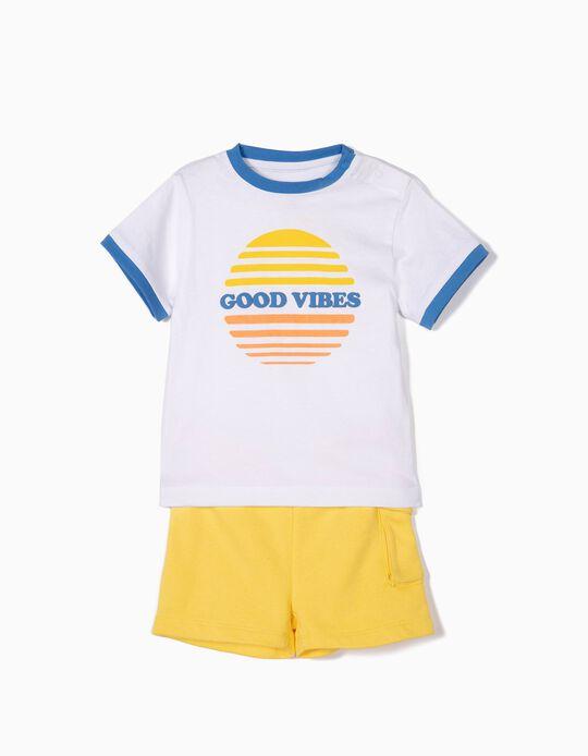 T-shirt e Calções para Bebé Menino 'Good Vibes', Branco e Amarelo
