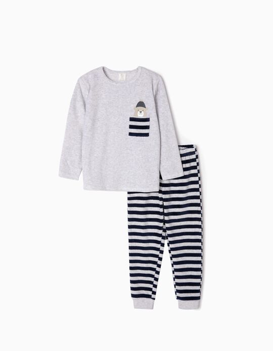 Velvet Pyjamas for Boys 'Cute Bear', Grey/Dark Blue
