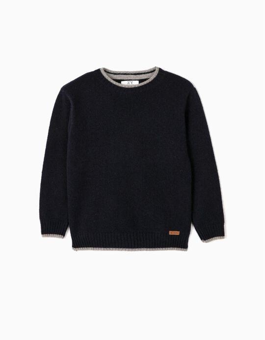 Camisola de Lã para Menino, Azul Escuro