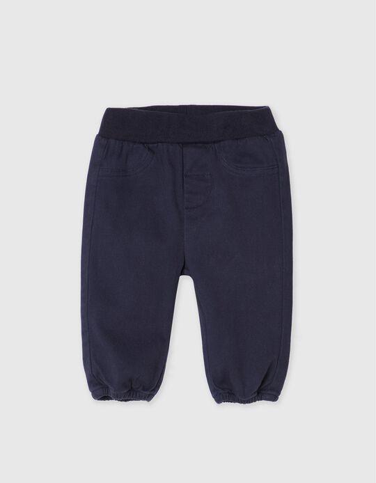 Calças de Sarja, Recém-Nascido, Azul Escuro